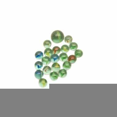 Gekleurde glazen knikkers 21 stuks
