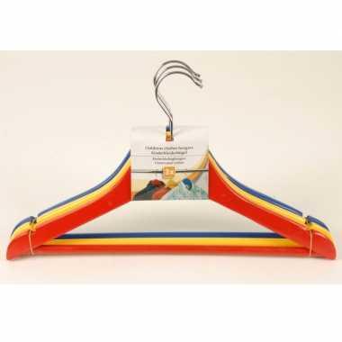 Gekleurde kledinghangers voor kinderen hout 3 stuks