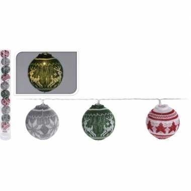 Gekleurde lichtsnoer met led kerstballen 65 cm