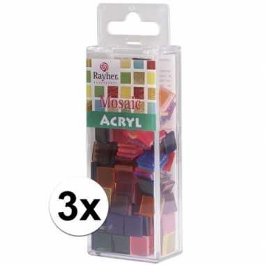 Gekleurde mozaiek steentjes 1 x 1 cm