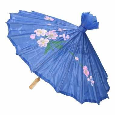 Gekleurde paraplu chinese stijl blauw 80 cm