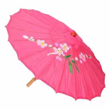 Gekleurde paraplu chinese stijl fuchsia 80 cm