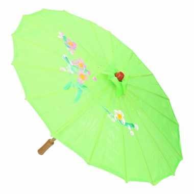 Gekleurde paraplu chinese stijl groen 80 cm
