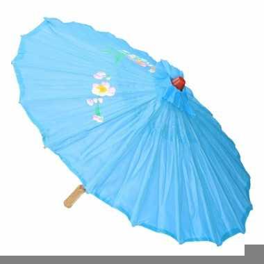 Gekleurde paraplu chinese stijl licht blauw 80 cm