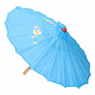 Gekleurde paraplu chinese stijl licht blauw