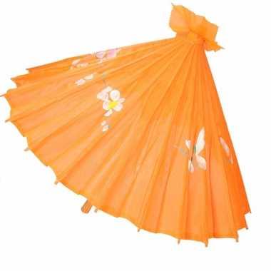 Gekleurde paraplu chinese stijl oranje 80 cm