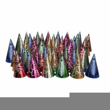 Gekleurde punthoedjes glitter feest 50 stuks