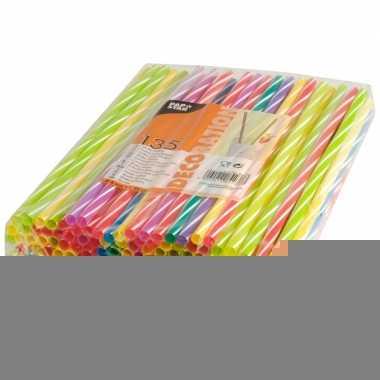 Gekleurde shake rietjes 135 stuks 25cm