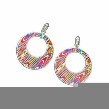 Gekleurde sixties oorbellen clip on