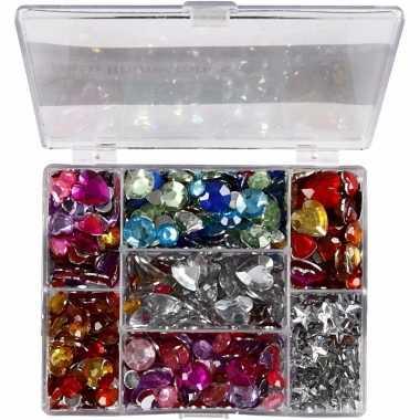 Gekleurde strass stenen in display box