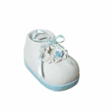 Geld spaarpot babyschoen blauw