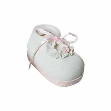 Geld spaarpot babyschoen roze