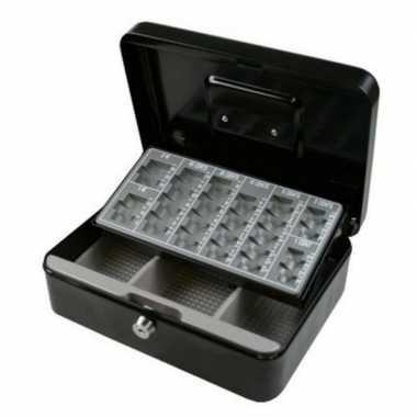 Geldkistje zwart met munten sorteerlade 25 x 18 x 9 cm