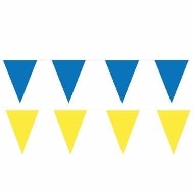 Gele/blauwe feest punt vlaggetjes pakket 200 meter