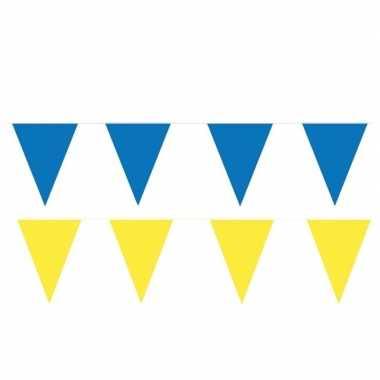 Gele/blauwe feest punt vlaggetjes pakket 80 meter