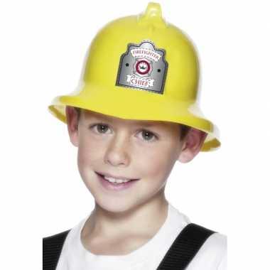 Gele brandweerhelm kids