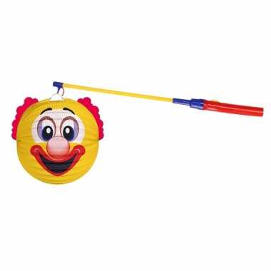 Gele clown lampion 22 cm met lampionstokje