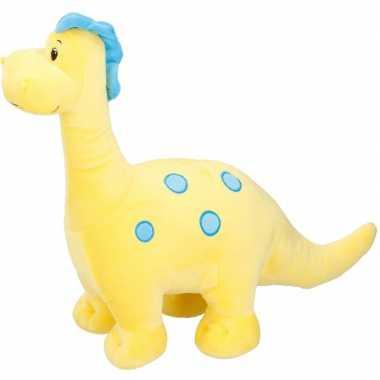 Gele dinosaurus knuffel brontosaurus 37 cm