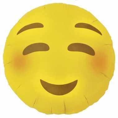 Gele emoticon folie ballon met blosjes 46 cm