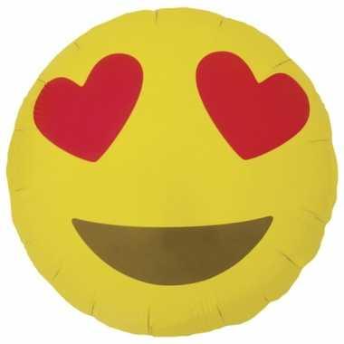 Gele emoticon folie ballon met hartjesogen 46 cm