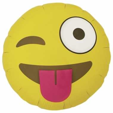 Gele emoticon folie ballon wink 46 cm