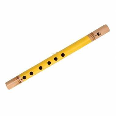 Gele fluit van bamboe 30 cm