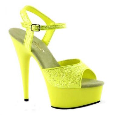 Gele glitter sandalen met enkelbandje