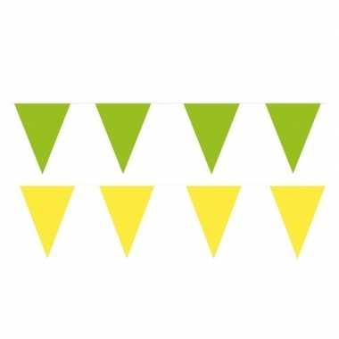 Gele/groene feest punt vlaggetjes pakket 120 meter