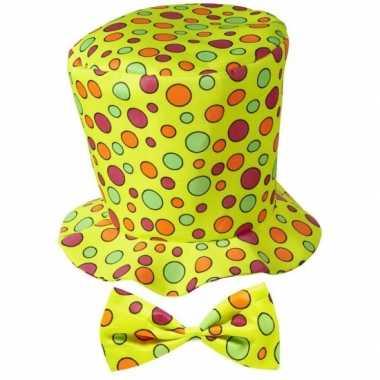 Gele hoge hoed met stippen