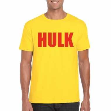 Gele hulk t-shirt met rode letters voor heren