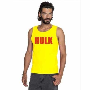 Gele hulk tanktop / hemdje met rode letters voor heren