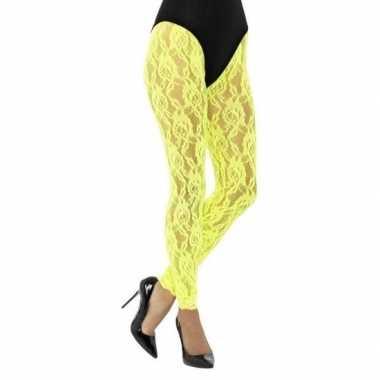 Gele jaren 80 panty voor dames