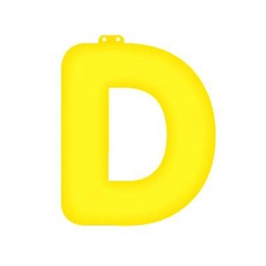 Gele letter d opblaasbaar