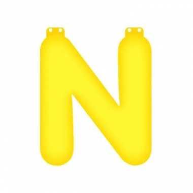 Gele letter n opblaasbaar