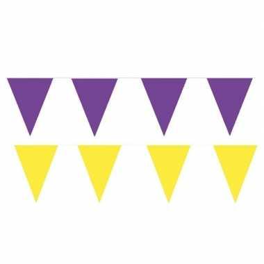 Gele/paarse feest punt vlaggetjes pakket 200 meter