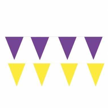 Gele/paarse feest punt vlaggetjes pakket 80 meter
