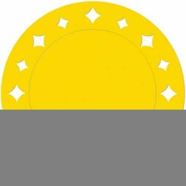Gele placemats met sterren 33 cm
