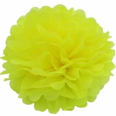 Gele pompom versiering 35 cm