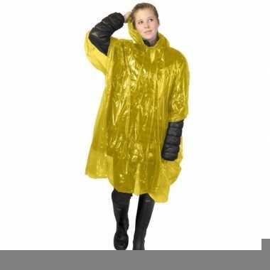 Gele poncho met capuchon voor volwassenen