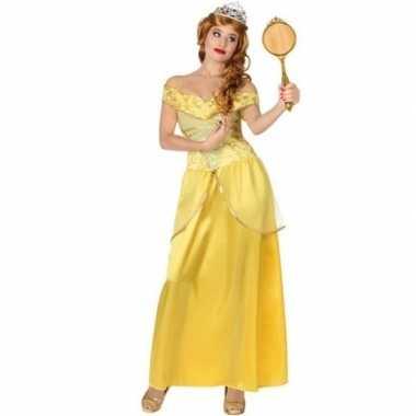 Gele prinsessen verkleed jurk voor dames