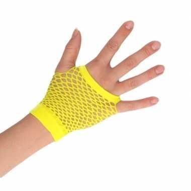 Gele rocker/punker korte visnet handschoenen voor volwassenen