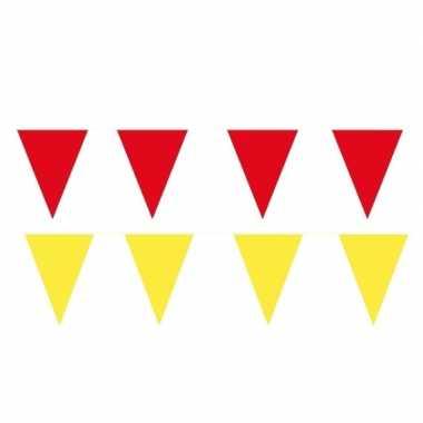 Gele/rode feest punt vlaggetjes pakket 120 meter