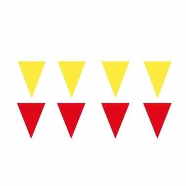 Gele/rode feest punt vlaggetjes pakket 60 meter
