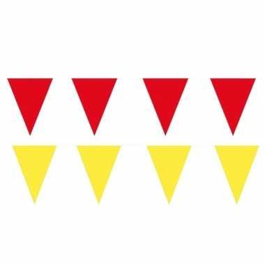 Gele/rode feest punt vlaggetjes pakket 80 meter