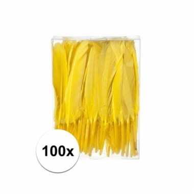 Gele sier veren 100 stuks13 cm
