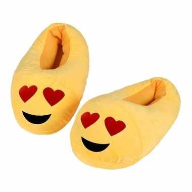 Gele smiley kids slofjes met hartjesogen voor kinderen