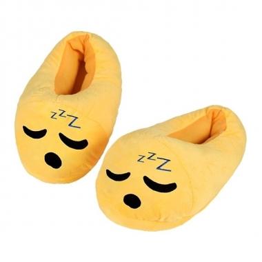 Gele smiley kids slofjes zzz voor kinderen