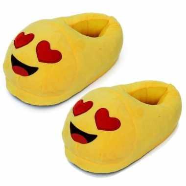 Gele smiley slofjes met hartjesogen voor dames