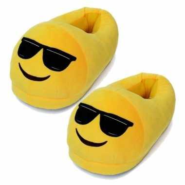 Gele smiley slofjes met zonnebril voor dames