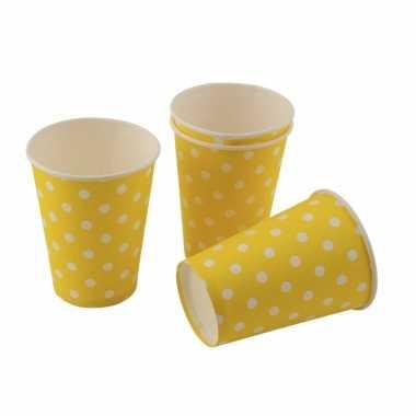 Gele wegwerp bekertjes met witte stippen 8st
